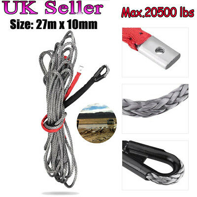 27m*10mm 20500 lbs Synthetic Winch Line Cable Rope For  ATV UTV Truck