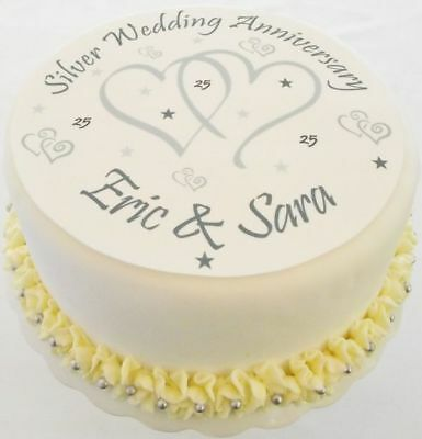 Happy Anniversary Edible A4 Cake Topper With Your Own Personalised