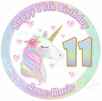 Unicorn Edible Round Cake Topper With Your Own Personalised Image or Photo