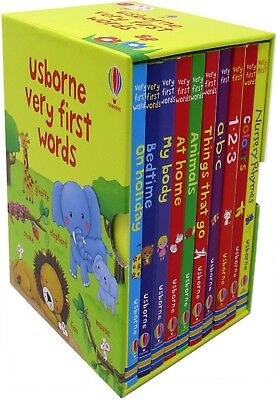 Usborne Very First Words Collection 10 Books Set Nursery Rhymes, Colours, 123, A