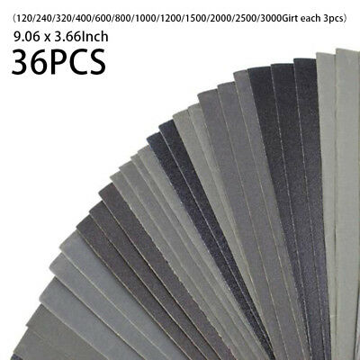 36 Pcs Wet Dry Sandpaper 400 To 3000 Grit Assortment 9.06 X 3.66 Inches Abrasive