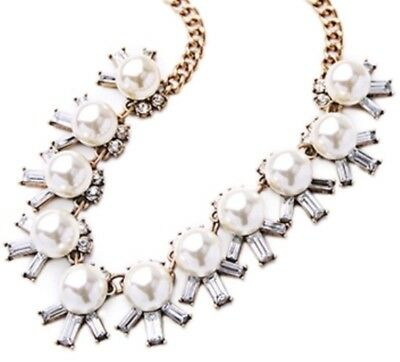 WHITE PEARL BEADED FLORAL Clear Diamante Crystal Rhinestone Gold Flower Necklace