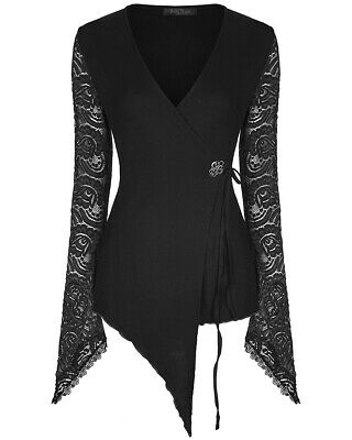 Punk Rave Womens Gothic Wrap Top Black Lace Sleeves Steampunk Victorian Witch