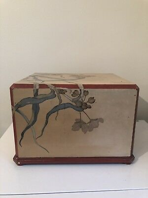 Chinese Lacquered Box Lacquer Flower Decoration Large