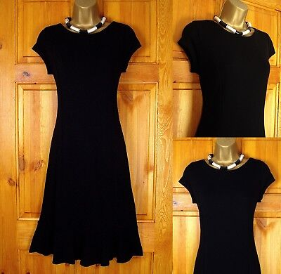 New Ex Wallis Black Jersey Tea Party Dress Vintage Style Uk Size 8 & 10