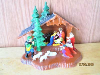 Vintage Plastic Christmas Nativity With Kings & Holy Family Made In Hong Kong