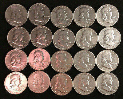 90% Silver Franklin Half Dollars   Roll of 20 Coins  $10 Face Value (Circulated)