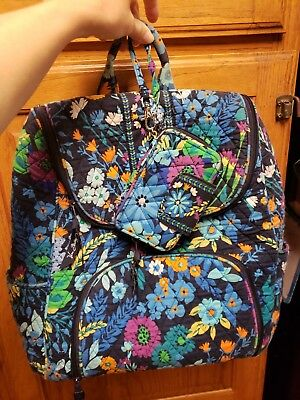 b7354eb94d Vera Bradley DOUBLE ZIP BACKPACK for campus or travel blue floral with  wallet