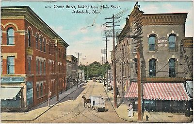 """""""Old"""" Centre Street, looking from Main Street in Ashtabula, Ohio in Early 1900s"""
