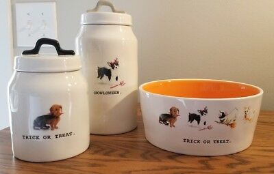 Rae Dunn Pet Bowl and Canisters HALLOWEEN and TRICK OR TREAT
