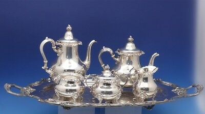 Strasbourg by Gorham Sterling Silver Tea Set 5pc with Amston SP Tray (#3119)