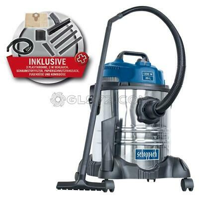 230V Wet And Dry Vacuum Cleaner Stainless Steel 20L 1200W Scheppach Asp20-Es