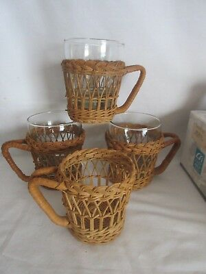 4 Vintage Wicker Coffee Cup Holders with 3 Glasses, San Francisco HL1-100