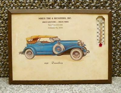 "Vintage Thermometer Duesenberg Advertising  7"" x 5"" Ordinary Virginia Arco Delta"