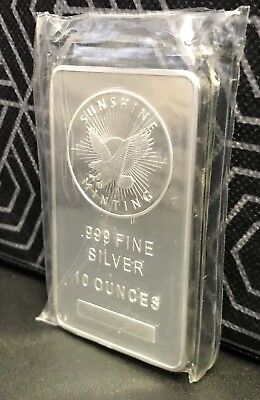 10 oz Sunshine Silver Bar (New, Sealed, MintMark SI)