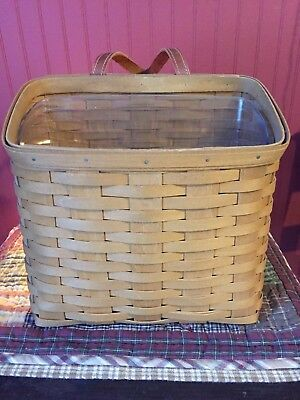Honey Brown Longaberger Signed Mail Wall Basket with Leather Handle
