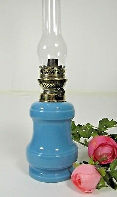 Antique Oil Lamp French Blue Opaline Glass Table Parlor Kerosine Burner Chimney