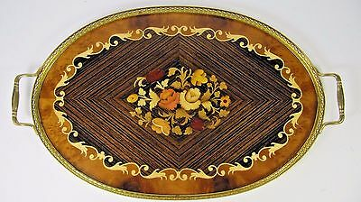 Vintage Serving Tray Sorrento Italian Hand Made Inlaid Wood Marquetry Brass