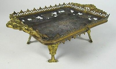 Antique French Chinese Bronze Gilt Ormolu Mounted Card Tray Dish 19thC Figures