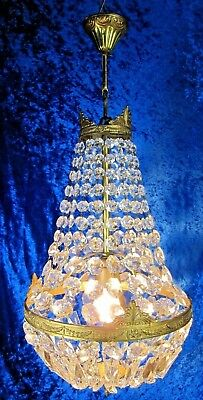 VTG EMPIRE Style Crystal Hanging Ceiling Lamp Bag Chandelier French Brass Tent