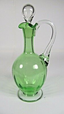 Victorian Vaseline Glass Ewer Antique 19thC French Pitcher Liquor w/ Stopper