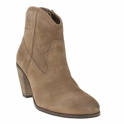 New Womens Superdry Tan Alice Western Suede Boots Ankle Zip