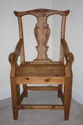 Chippendale Style Hand Carved Pine Chair