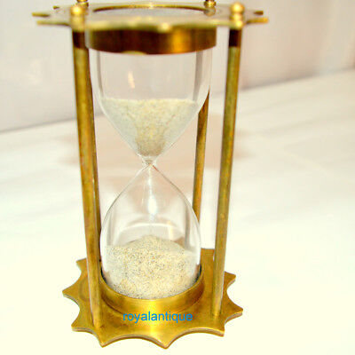 Brass Sand Timer Hourglass Nautical Maritime Collectible Home Decor Gift Item