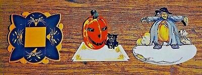 Vintage Halloween Dennison, Gibson Lot Of 3 2 Placecards &  1 Nutcup, Unused 🎄