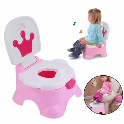 3 in 1 Toddler Kids Baby Toilet Trainer Potty Urinal Training Seat Music Chair U