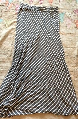 Liz Lange Maternity Maxi Skirt Long Size Xs Grey White Striped Cute Cozy