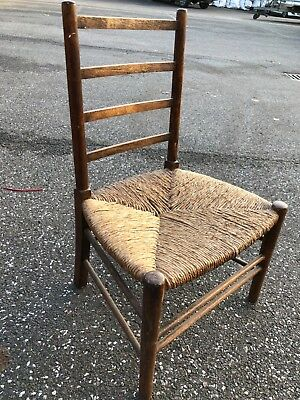 Victorian, childs chair, rustic, rush seat, Arts and Crafts