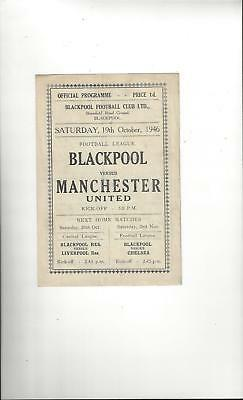Blackpool v Manchester United Football Programme 1946/47