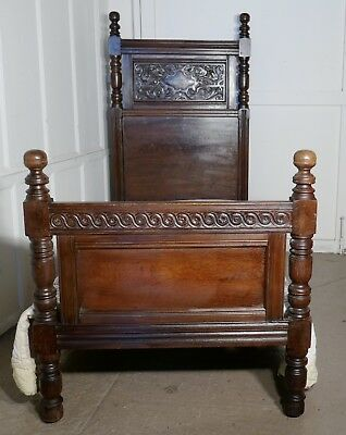 Gothic High Carved Oak Single Bed