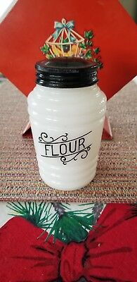 Vintage Hazel Atlas Barrel Scroll Lines Black Range Shaker  Flour