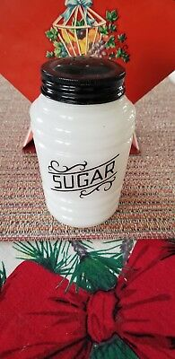 Vintage Hazel Atlas Barrel Scroll Lines Black Range Shaker Sugar