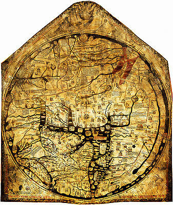 c1300 Mappa Mundi Hereford World Map Medieval Vintage History Wall Art Poster