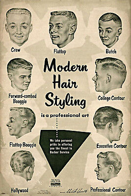 Barber Services Vintage Ad Modern Hair Styling Chart Decor Haircut Drawing Print