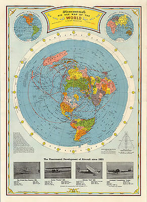 1948 Flat Earth Air Age Map of the World Azimuthal Equidistant Polar Projection