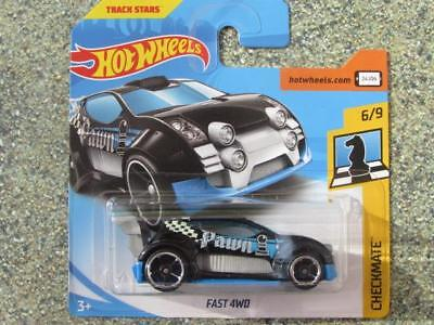 """Hot Wheels 2018 # 166/365 Fast 4wd Negro Azul"""" Pawn """" Jaque Mate Ajedrez"""
