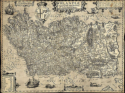 1606 Map of Ireland Baptista Boazio Wall Art Poster Decor Vintage Irish History