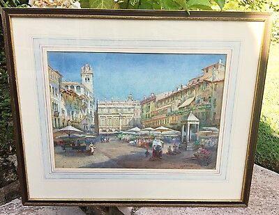 Antique Watercolour Painting Italian Market Signed Emily Mary Bibbens Warren