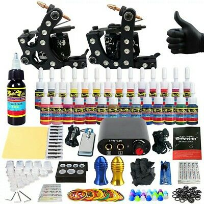 Solong Tattoo Kit Complet Professionnel 2 Machines 28 Encres
