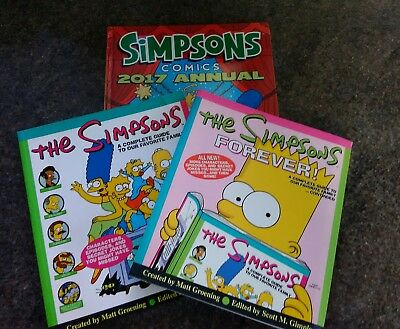 SIMPSONS BOOKS X 3 Annual 2017/Simpsons Forever/Simpsons guide family