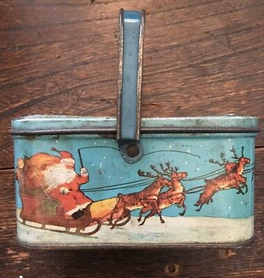 Vintage Santa Twas the Night Before Christmas Tindeco Candy Tin Box