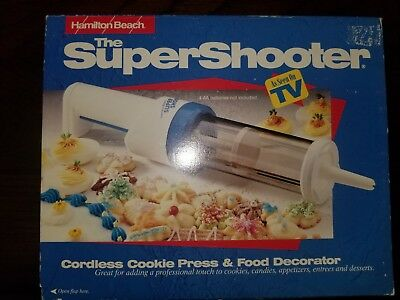 Hamilton Beach SUPER SHOOTER Food Decorator CORDLESS Cookie Press Food Gun USED.