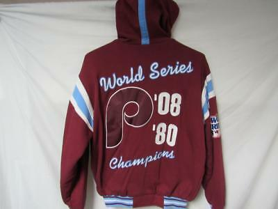 669a23e932c07 Philadelphia Phillies Mens M 2 Time World Series Champions Hooded Jacket B1  33