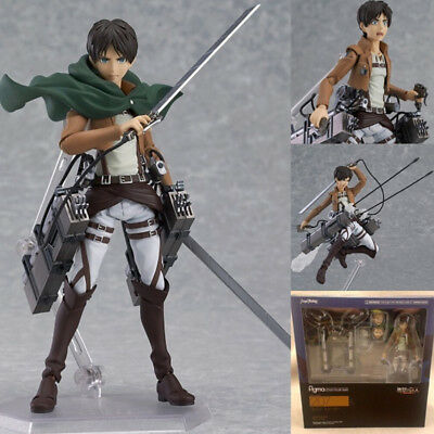 "6"" Attack On Titan Eren Yeager PVC Figure Figma 207 Anime Collection Toy In Box"