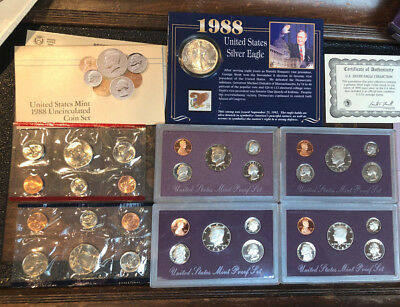 1988 31 Coins 4-Proof Sets, 1-Uncirculated P,D Set 1- Silver Eagle 29 Cent Stamp