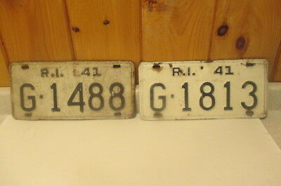 Antique Pair Of 1941 Rhode Island License Plates